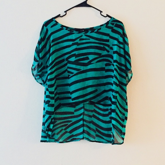 Forever 21 Tops - Green and Black Striped Hi-Lo Top